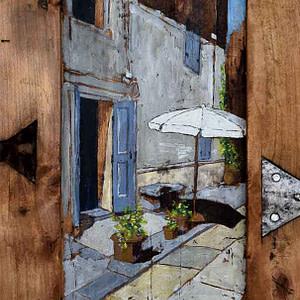 Al solicchio | tempera su tavola | Massimo Lomi