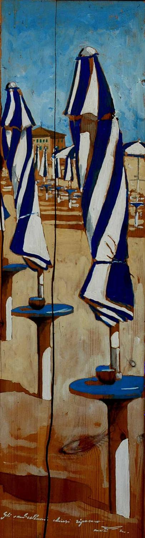Gli ombrelloni chiusi riposano - Massimo Lomi